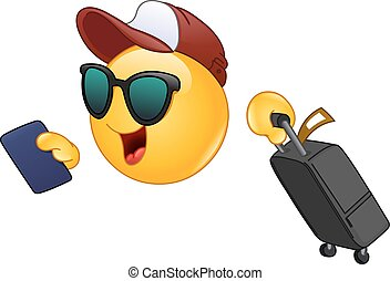 Air traveler emoticon - Hurrying Air traveler emoticon...