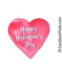 Post card for Valentine's day with hand drawn watercolor...