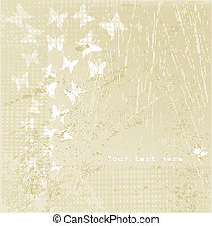 Grunge retro background with white butterflies