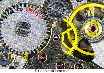 clockwork old mechanical  high resolution with words Time to Switch