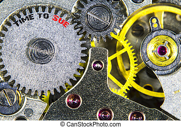clockwork old mechanical  high resolution with words Time to Sue