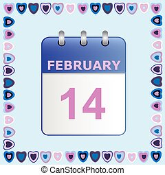 Valentine s Day, calendar icon in frame of hearts on blue.