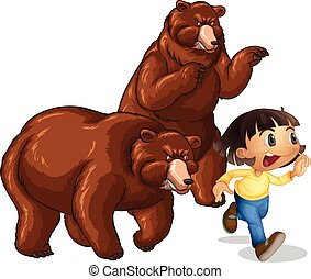 Girl running away from grizzly bears illustration
