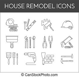 Set of thin black and white line house remodel icons - House...