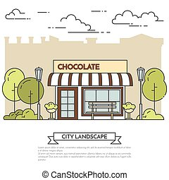 City landscape with chocolate cafe in public park Line art -...