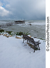 The coast of the Trabocchi - A day with snow between...