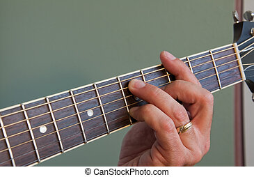 Acoustic guitar chord - Hand fingering barred G7 chord on...
