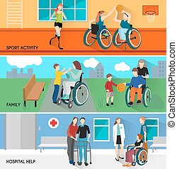 Disabled People Horizontal Banners Set - Disabled people...