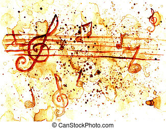 Music Notes Art - Grunge paper with coffee stains and music...
