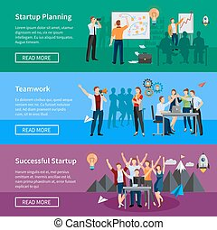 Startup People Flat Banners Set - Successful startup 3 flat...