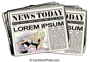 Sad girl in bed. Newspaper article. - Stock illustration....