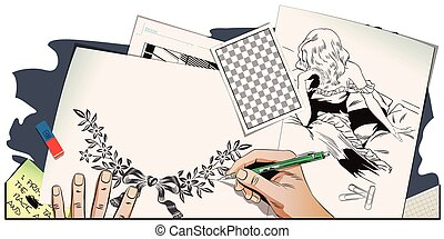 Sad girl in bed. Hand paints picture. - Stock illustration....