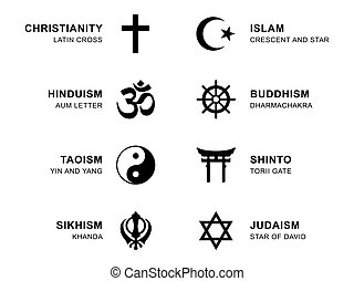 World religion symbols with English labeling - World...