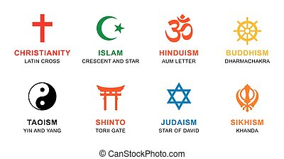 World religion symbols colored with English labeling - World...