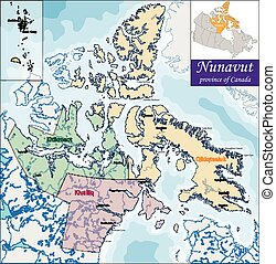 Map of Nunavut - Nunavut is the newest, largest,...