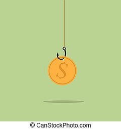 Golden dollar coin on black sharp fishing hook hanging on...