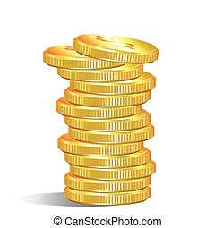 pile of gold dollar coins