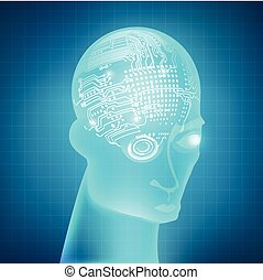 cyborg - buleprint of A.I. invention, electronic robot brain...