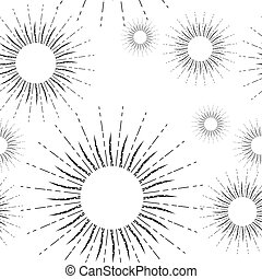 Vintage Linear Sunburst Seamless Pattern - Sunshine rays...