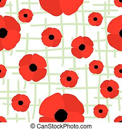 Red Poppy Seamless Pattern