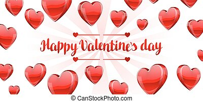 Happy Valentine day banner with red realistic hearts.