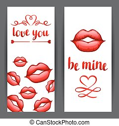 Happy Valentine day banners with red realistic lips.