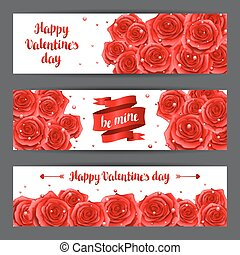 Happy Valentine day banners with red realistic roses.
