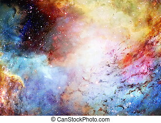 Cosmic space and stars, color cosmic abstract background. -...