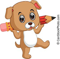 Cute dog holding pencil - illustration of Cute dog holding...