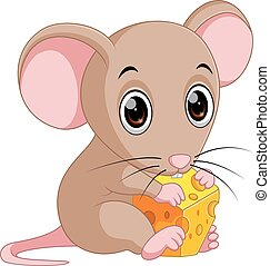 Cute mouse cartoon holding cheese - illustration of Cute...