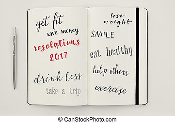 list of resolutions for 2017 in a notebook - high-angle shot...