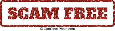 Scam Free Rubber Stamp - Dark Red rubber seal stamp with...