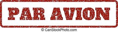 Par Avion Rubber Stamp - Dark Red rubber seal stamp with Par...
