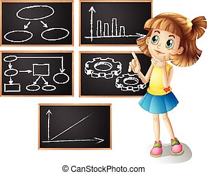 Girl and different types of graphs illustration