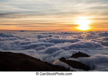 Sunset over clouds on Lombok, Indonesia - Sunset over clouds...