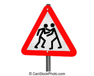 Road rage - Illustration of a road traffic sign signaling...