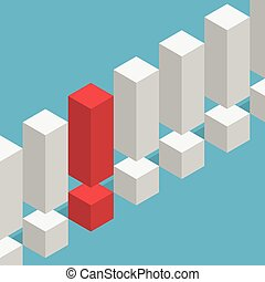 Unique red exclamation mark - Unique isometric red...