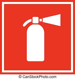 Fire extinguisher red vector sign illustration