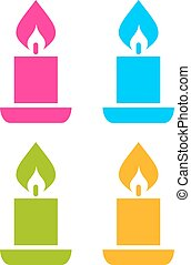 Color candle icons set