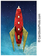space rocket - 3d illustration of a space rocket in an old...
