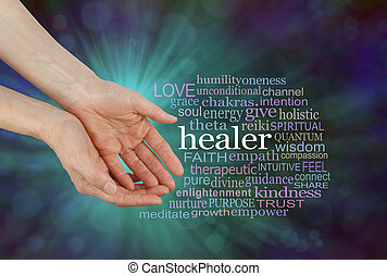 Healer Offering Healing Word Cloud - Female hands in open...