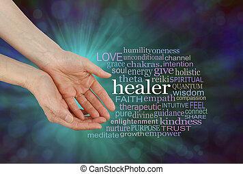 Healer Offering Healing Word Cloud - Female hands in open...