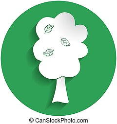 Fruit tree icon in paper style on green circle