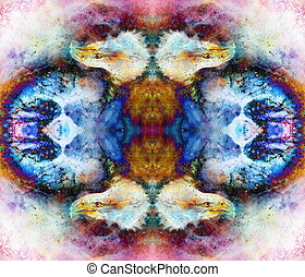 collage with eagle head and ornaments on multicolor abstract...