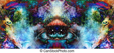 psychedelic eyes on multicolor abstract backgroung with...