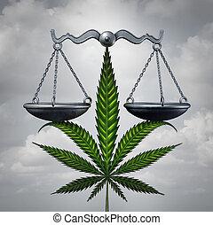 Marijuana Law Concept - Marijuana law concept as a cannabis...