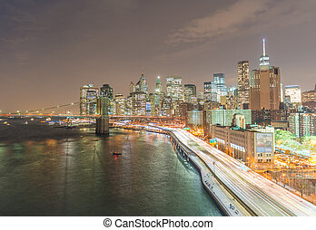 Night traffic on FDR drive as seen from Manhattan Bridge,...