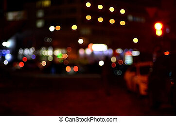 Blurred landscape of night city
