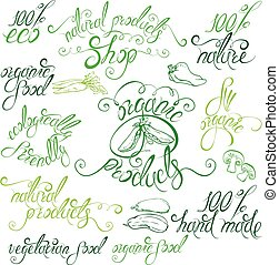 Collection of delicious vegetables signs, elements, labels, hand drawn calligraphic phrases: 100% natural, eco, all organic, natural products, vegetarian food, hand made, etc. Set of lettering design.