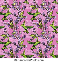 Seamless pattern. Colibri birds and flowers on pink...